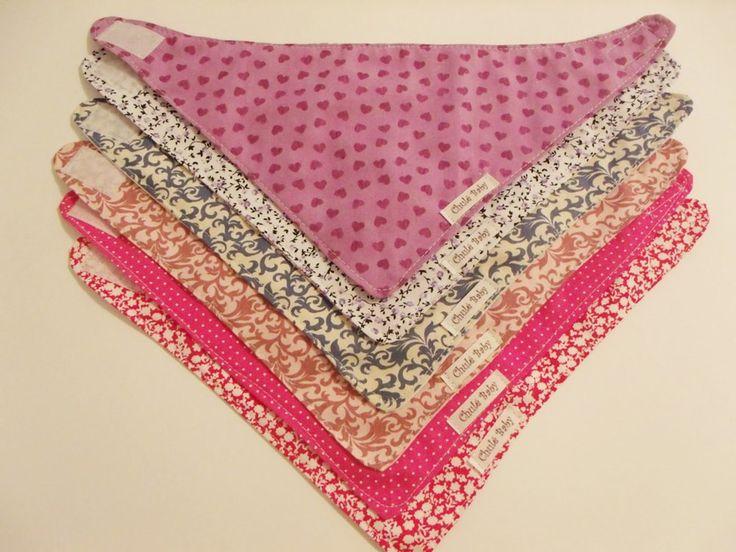 Kit de babador bandana para meninas em tricoline de algodão