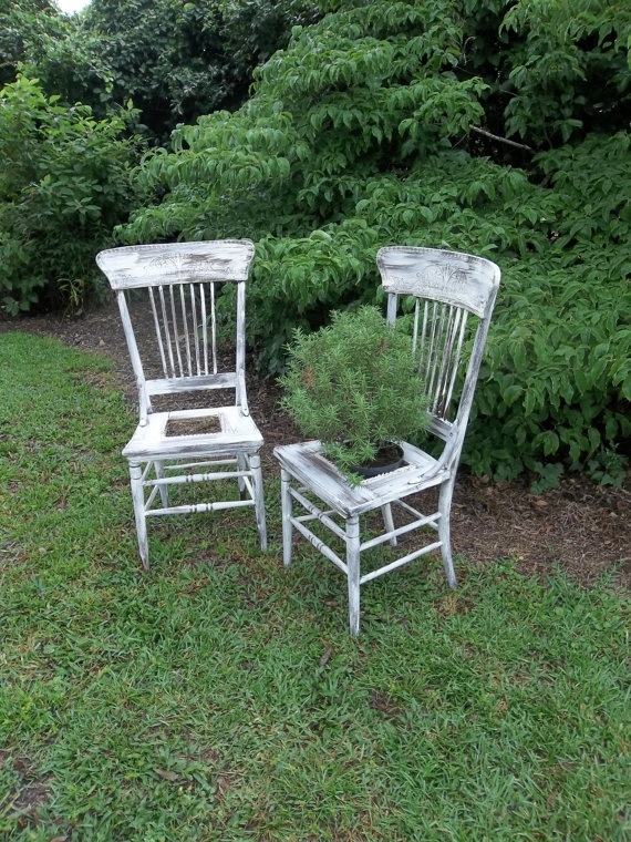 Garden Decor Vintage Chairs Plant Stand Fern Painted by misshettie, $250.00