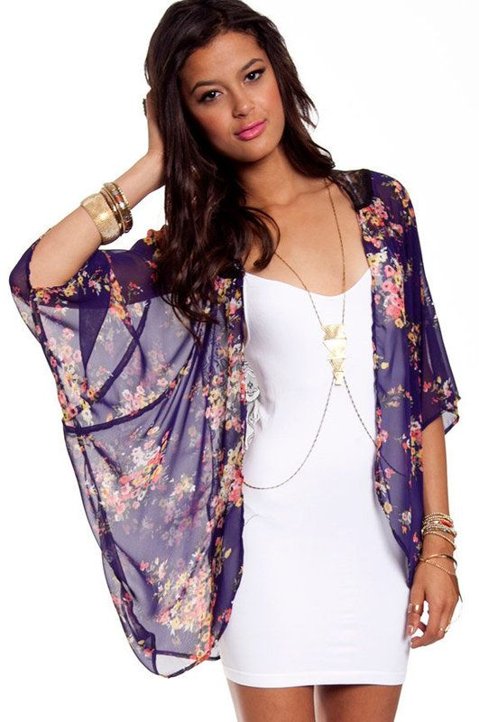 Tobi's Laced Blossom Kimono Cardigan in Royal Violet, Cami Dress, Heroine Body Chain, and Boteco Striped Platform Espadrille