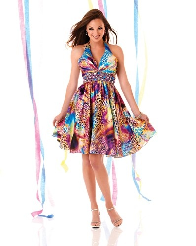 A short, multi coloured party dress by Mystique Prom.