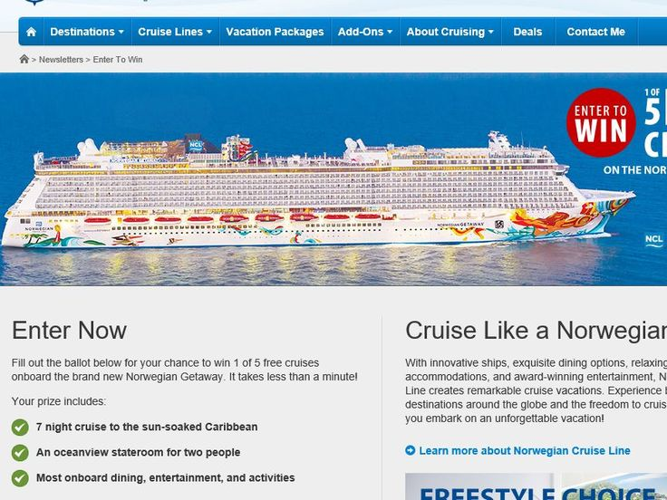 Enter the Expedia Cruise Centers Win 1 of 5 Free Cruises Contest for a chance to win 1 of 5 7-day Norwegian Cruise Line Cruises to the Caribbean!