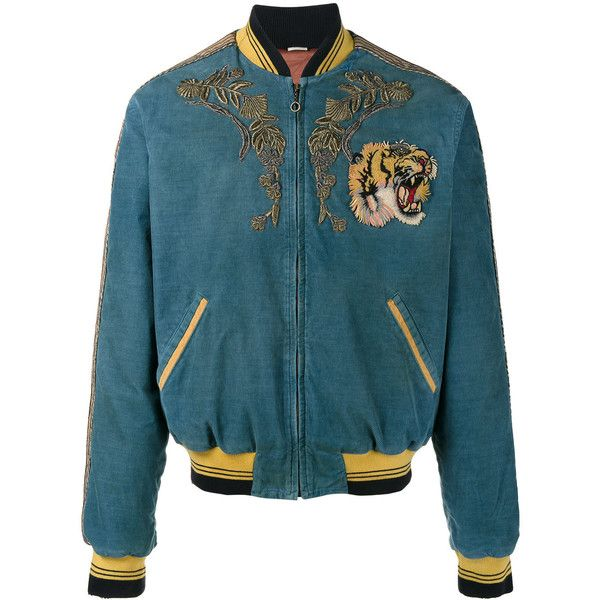 Gucci Embroidered Corduroy Bomber Jacket ($6,950) ❤ liked on Polyvore featuring men's fashion, men's clothing, men's outerwear, men's jackets, blue, mens distressed leather jacket, gucci mens jacket, mens blue jacket, mens corduroy jacket and men's embroidered bomber jacket