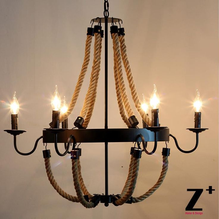 Америка стиль vintage кантри Железа Белье Лен Веревка Из Бисера сделано люстра лампа E14 Х 6 светодиодные бесплатная доставкакупить в магазине Z+наAliExpress