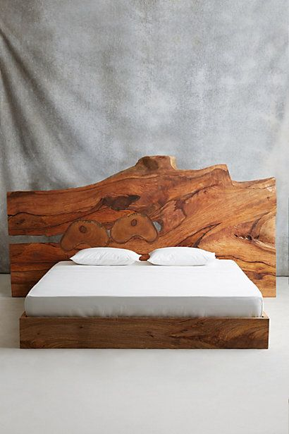 I can so see this in a lodge or cabin #bedroom! What a cool way to bring nature in #SpaHack: Live Edge Wood King Bed #anthroregistry