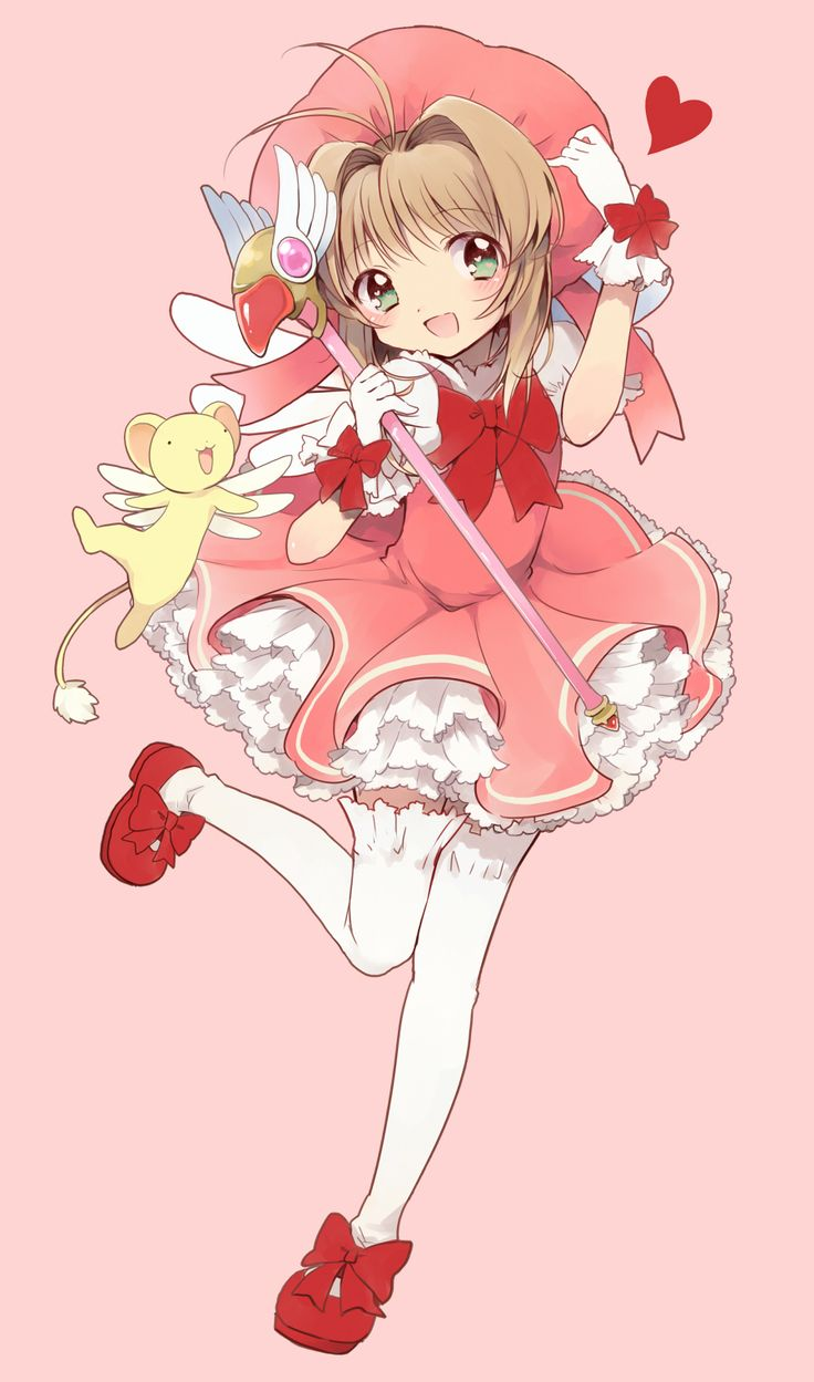 Sakura and her cute outfit that madison made and with kero