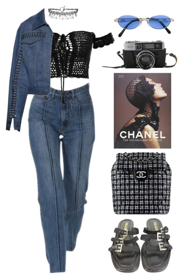 """chanel casual"" by lalagenue ❤ liked on Polyvore featuring Prada, AllSaints, Chanel and Jean-Paul Gaultier"