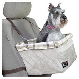 "Perfect for taking trips in the car with your four-legged friend, this quilted pet booster seat features 2 safety leashes for comfort and security.       Product: Pet booster seatConstruction Material: Fabric and metalColor: Beige and brownFeatures:  Suitable for pets up to 25 lbsTwo safety leashes includedFront storage pocketWorks in backseatDimensions: Large: 8"" H x 16"" W x 14"" DExtra Large: 10"" H x 20"" W x 15"" DNote: Headrest required"