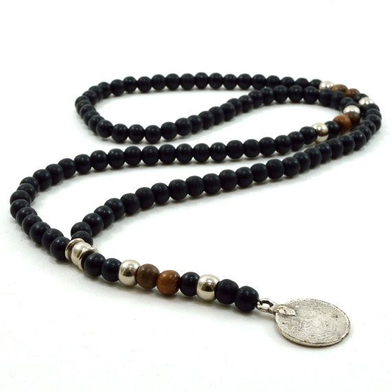 Mens black wooden beaded rosary necklace with silver by lowusu