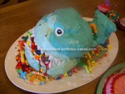 Homemade Shark Cake: My son was wanting a different looking cake. We looked on line and found a cake that I was going to order...then we discovered that the cake store was