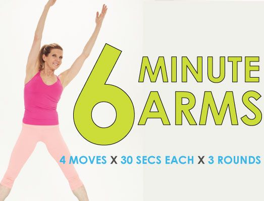 6-Minute Arm Workout It seems that these days, women are especially concerned with being thin, thin thin! But the truth is, ultra-thin arms will only make you look frail. By focusing on your biceps, triceps and shoulders, you can project a much more youthful and vigorous image. But you won't just