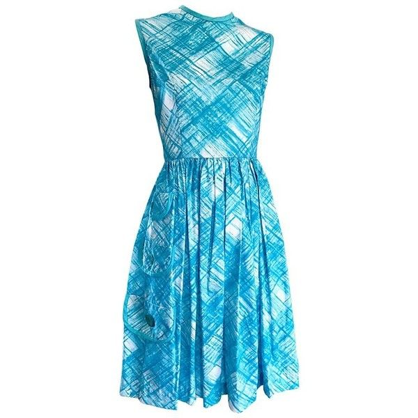 Preowned 1950s Turquoise Blue And White Diagonal Plaid Cotton + Rayon... ($750) ❤ liked on Polyvore featuring dresses, 1950s, vintage, white, cocktail dresses, fit flare dress, vintage cocktail dresses, evening dresses and vintage evening dresses