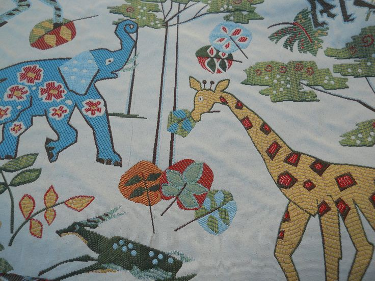 Safari upholstery fabric jungle animal fabric tapestry for Childrens jungle fabric