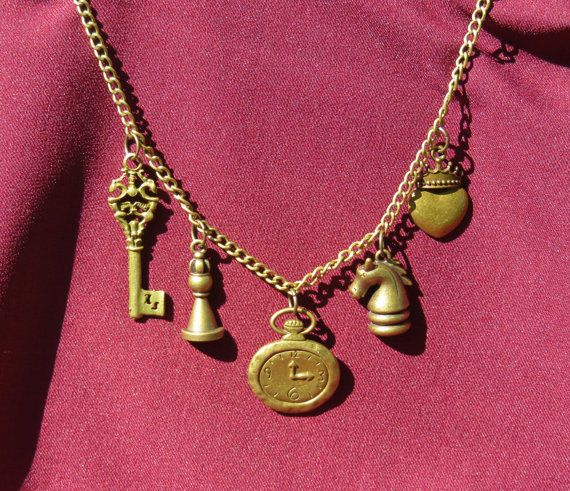 Bronze Alice Inspired Necklace Chess Piece by ofRingAndScale