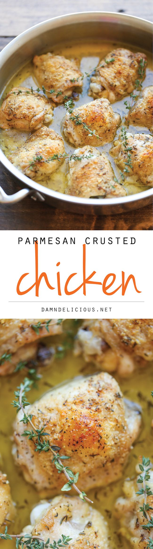 Parmesan Crusted Chicken - Crisp-tender chicken with the most amazing Parmesan crust and a lemony-herb sauce!