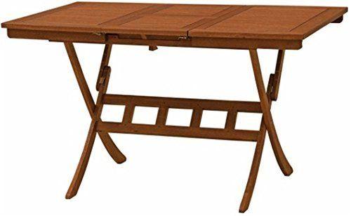 Tavolo pieghevole estensibile 100/140 cm, in legno Yellow Balau