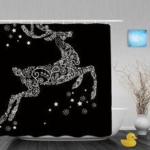 Preto bonito Cervos Branco Chuveiro Do Banheiro Cortinas Decoração De Natal Em Casa Tecido de Poliéster Cortina de Chuveiro Impermeável Com Ganchos(China (Mainland))