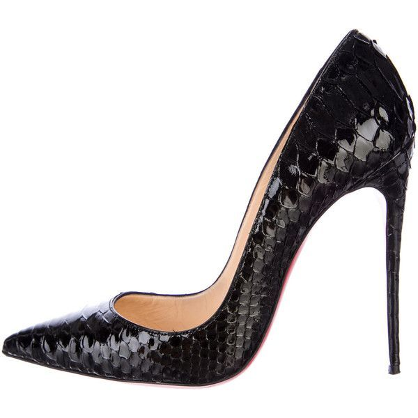 Pre-owned Christian Louboutin Python So Kate Pumps ($995) ❤ liked on Polyvore featuring shoes, pumps, black, snakeskin pumps, snake skin shoes, snake print shoes, christian louboutin shoes and pointed toe pumps