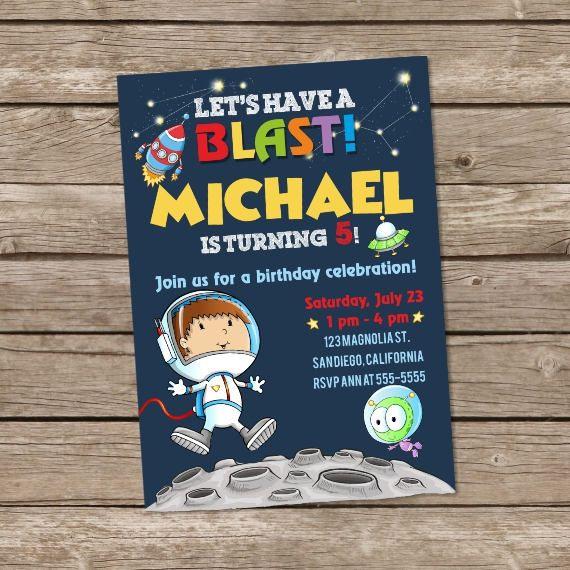 Fiesta de cumpleaños de astronauta cumpleaños invitación, invitación de cumpleaños del espacio, espacio