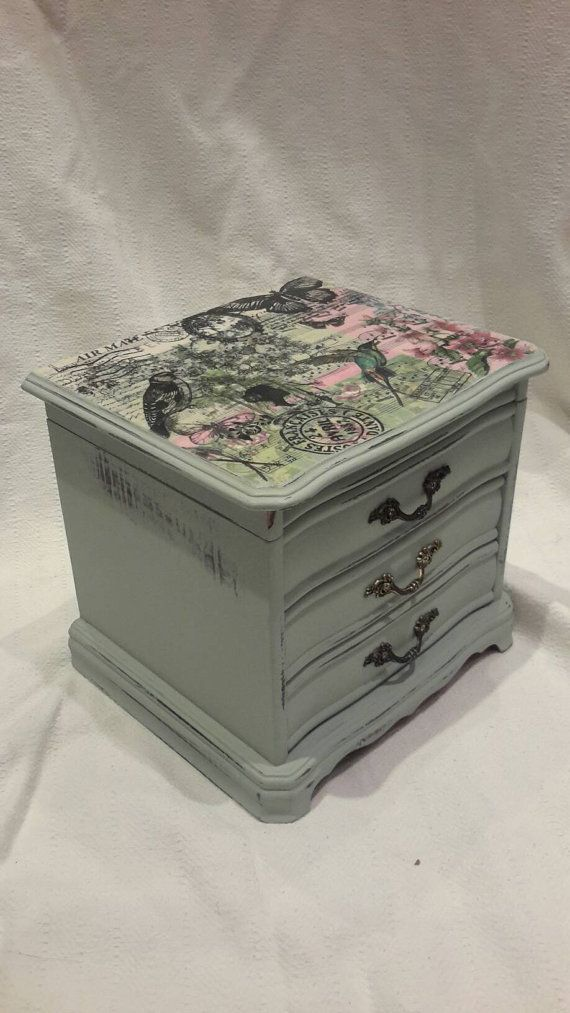 Jewelry Box Vintage Mini Chest Of Drawers Shabby Chic Jewellery Rustic Hand Painted Decoupage Erfly