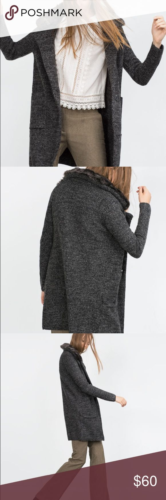 Zara: NWT Sweater, fur collar, thick, button up Zara: NWT, Gorgeous thick & practical button up sweater/cardigan with on trend fur collar, neutral dark grey, dress up for a night out or wear over jeans/ leggings for a more casual look. Zara Sweaters Cardigans