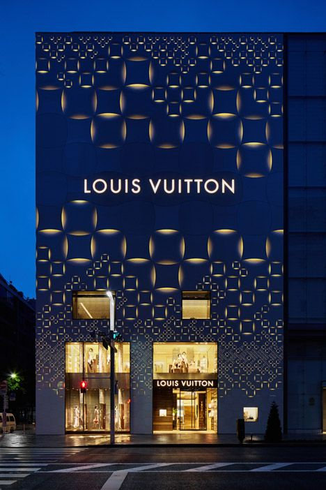 #mimari #architecture #Tasarım #Ankara #Türkiye www.kepezyapimarket.com       Louis Vuitton Tokyo facade by architect Aoki Jun. The building was fitted with a perforated aluminum shell giving it a quilted appearance. #MostBeautifulArchitecture #Tokyo