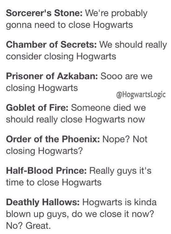 Hogwarts---the school that stayed open despite dementors, bureaucrats, murders, werewolves, killer teachers, staff shortages, and a direct assault.