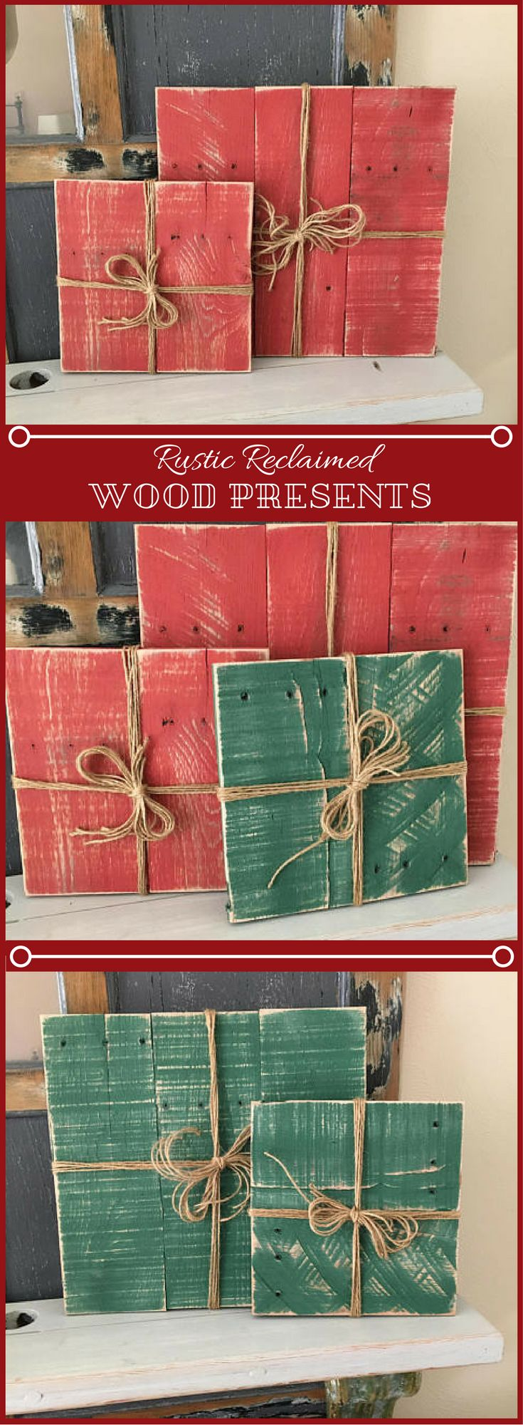 I love the look of these rustic reclaimed wood Christmas presents. They would make a great addition to our Holiday home decor.Rustic Wooden Presents//Primitive Christmas Packages//Rustic Holiday Gifts//Wood Christmas Decorations//Outdoor Christmas Decor. #Ad #Christmasdecor #rusticdecor