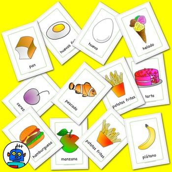 Spanish Food Flash Cards. Apple, banana, pear, pear, cake, egg, cutlery and more. 23 Cards:  manzana / apple plátano / banana pan / bread hamburguesa / burger tarta / cake cereza / cherry patatas fritas / chips huevo / egg huevos fritos / fried egg pescado / fish helado / ice cream naranja / orange pera / pear fresa / strawberry tomate / tomato ague / water cuchillo / knife tenedor / fork cuchara / spoon palillos / chopsticks plato / plate vaso / glass