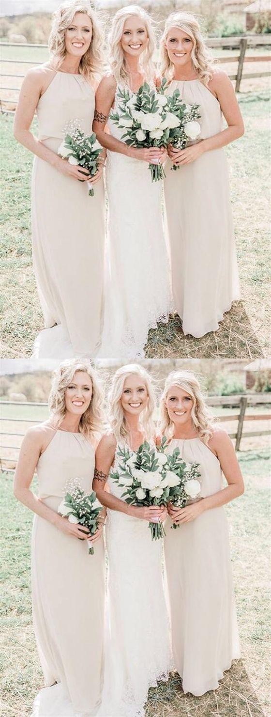 Simple Halter Sleeveless Chiffon Long Bridesmaid Dresses