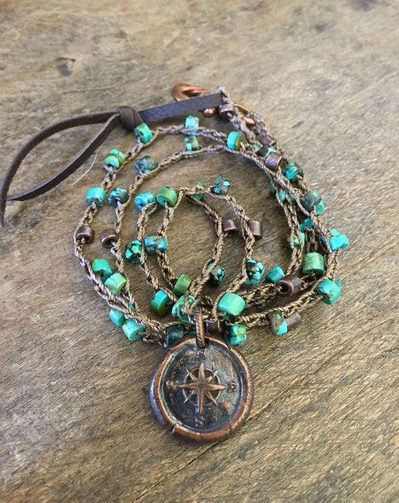 Kupfer-Kompass häkeln Halskette Türkis von TwoSilverSisters auf Etsy