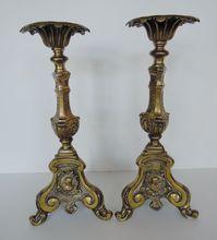 Pair of Antique 17th Century Brass Church Alter Candlesticks