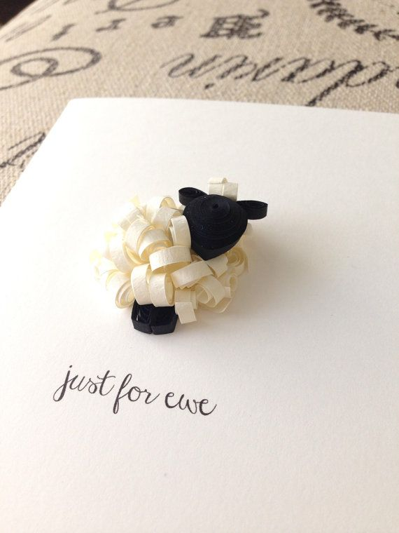 quilled sheep card just for ewe black and by APaperLifeOriginals                                                                                                                                                                                 More