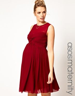 ASOS Maternity Dress With Mesh And Front Knot...want this dress sooooo badly. Must be very nice to husband.