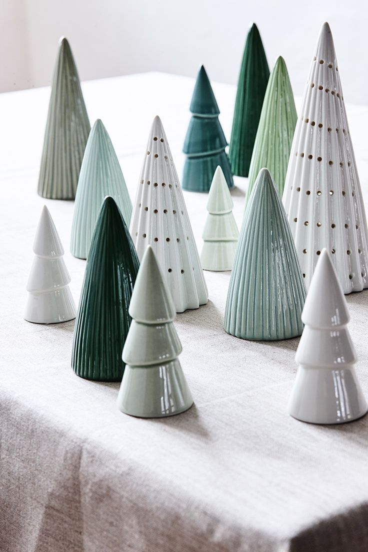 Ceramic christmas houses to paint - Beautiful Ceramic Cone Trees From S Strene Grenes Christmas Catalogue 2016 Christmas Decoration With Trees In Green And White Porcelain Winter