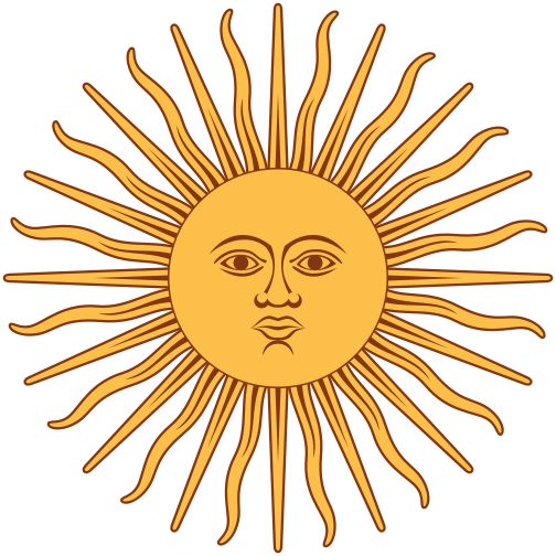 Inti (Sun Deity) from Argentinian flag (America, southern continent)