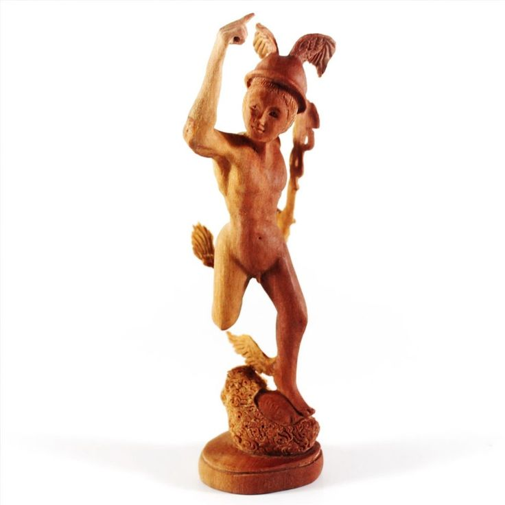 Hermes Mercury Greek Myth Figurine Wooden Carving Statue Saba Wood Sculpture
