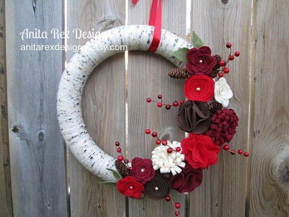 Christmas Wreath, Christmas Yarn Wreath, Birch, Red, Brown Pine Cones, Christmas Decor, Handmade Chrstmas