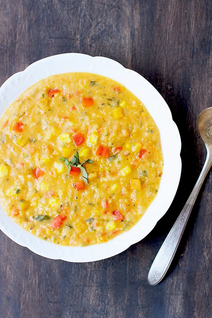 Yellow Split Pea Basil Soup with Roasted Red and Yellow Peppers - CaliZona