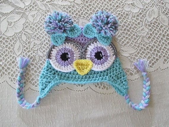 Lilac Purple and Aqua Colored Crochet Owl Hat by BusterBrowns                                                                                                                                                                                 More