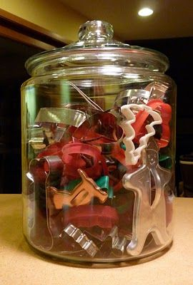 cookie cutter storage and christmas decor, fill large PartyLite glass candle holders, kitchen Christmas decor, www.partylite.biz/breannataylor