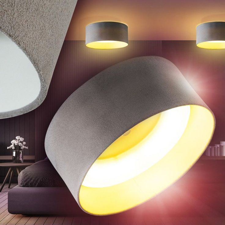 Details Zu LED Deckenleuchte Strahler Stoff Deckenlampe Flur Wohn Zimmer Lampe Kchen Grau