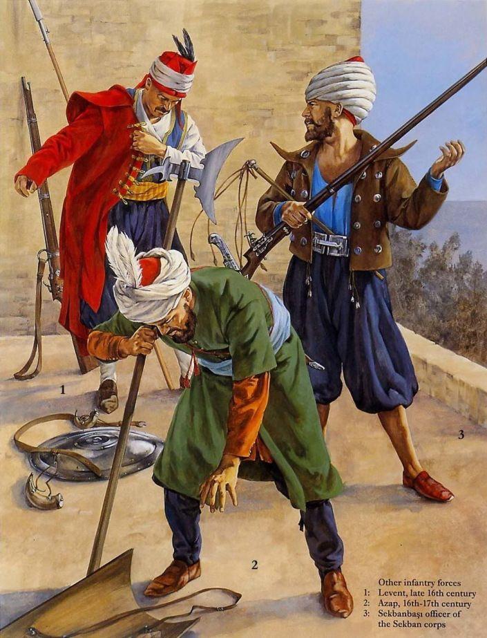 Ottoman 1- Tirailleurs bosniaque. Les frontières européenne de l'Empire Ottoman étaient en permanance gardées par les villageois musulmans des balkans armée de longue arme à feu. 2- Sipahi mamelouk d'Egypte. 3- Dervish bektashi. Ces religieux galvanisés les troupes ottomanes et plus particulièrement les janissaires auxquels ils étaient très atachés.