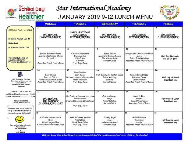 January Lunch 2019 Academy School Break International School