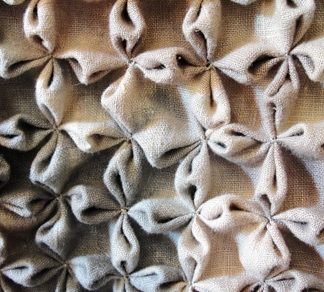 Flower Smocking sample - fabric manipulation; creative sewing inspiration; 3D textiles design