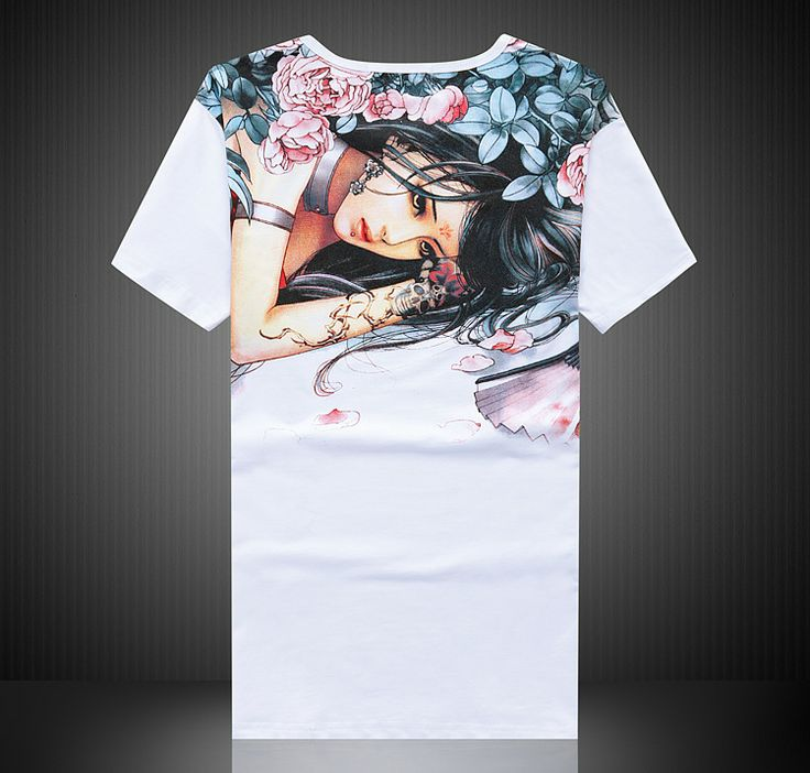 Asian tattoo girl floral print graphic Tee green cotton short sleeve round neck T-shirt | Cheongsam Mall
