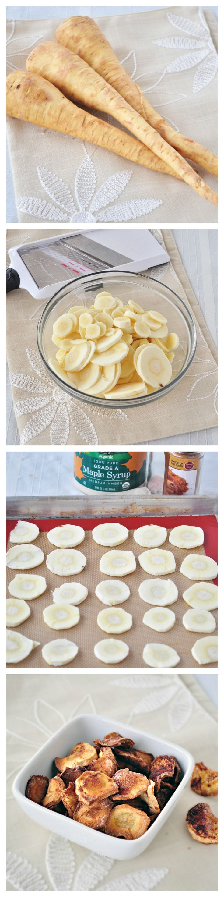 Maple Cinnamon Parsnip Chips.  A healthy and sweet snack your kids will love!  Mine ate the whole tray!  Only 4 simple ingredients!  #vegan #glutenfree #snacks