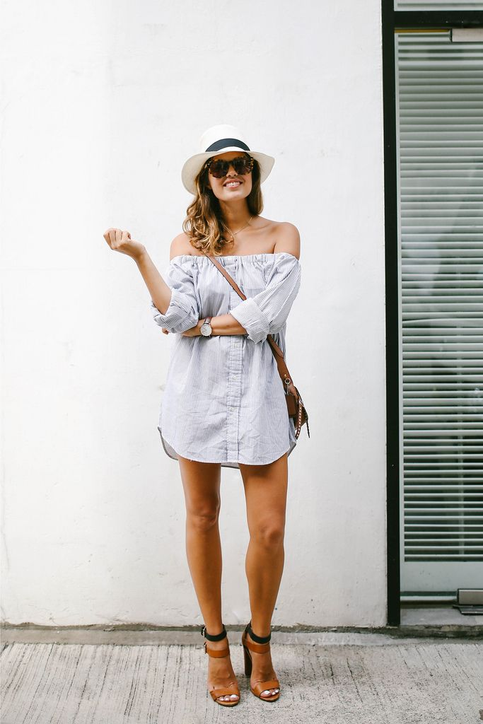 Turn a men's shirt into an off the shoulder dress. Would make it a little longer though!