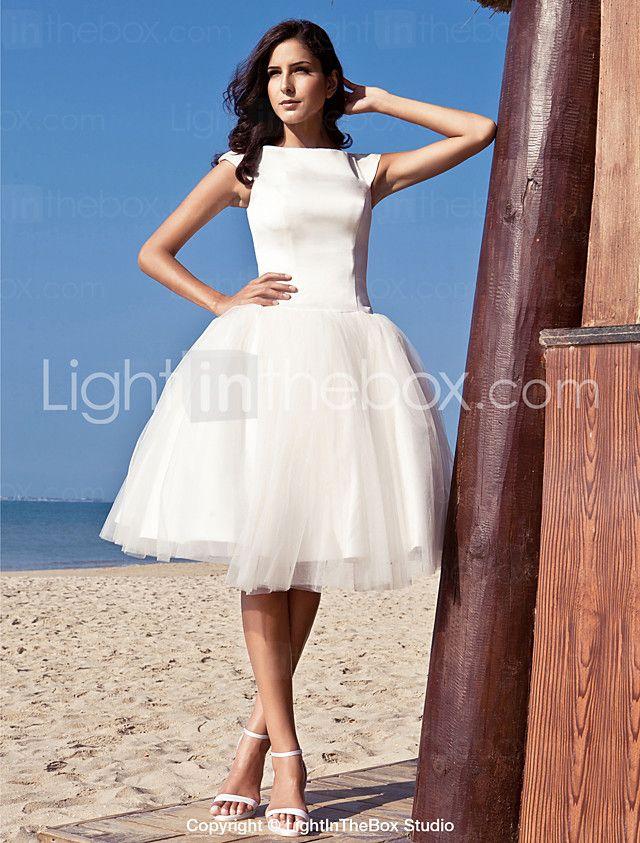 2017年 Lanting Bride® プリンセス 大きいサイズ / 小柄 ウェディングドレス - シック&モダン / 披露宴ドレス ホワイトドレス 膝丈 バトー サテン / チュール とともに コレクション – $79.99