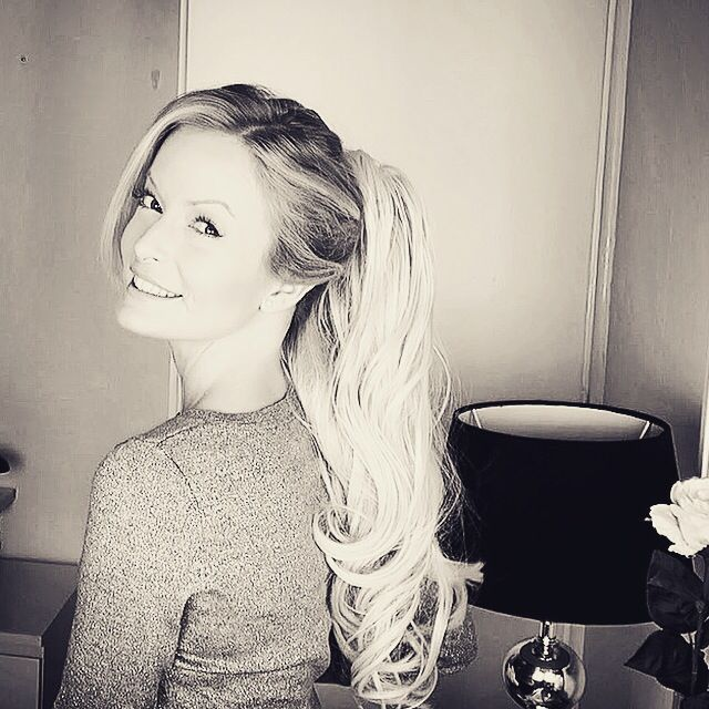 The beautiful Linnea pozing with her Poze Clip On Ponytail. Gorgeous hairstyle in just a moment. Visit us on www.pozehair.com to see more of our products.