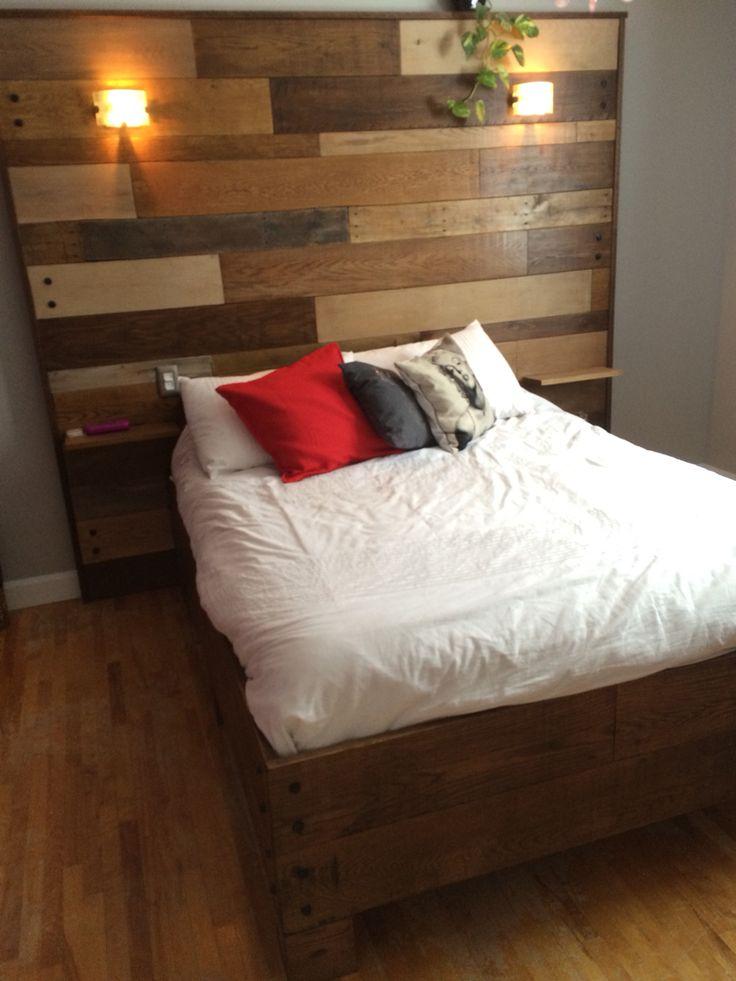 Base et tête de lit en bois(chêne rouge, pin, érable, bois palette )